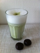 home-made almond milk with matcha and chia energy balls